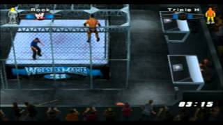 "(PS2) Smackdown VS RAW 2006 ""Hell in a Cell"" Gameplay Online (The Rock vs Triple H) [29/11/2013]"