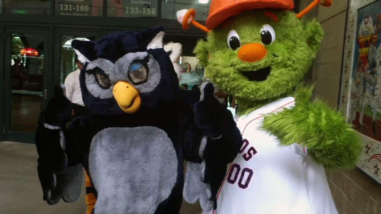 Astros mascot Orbit celebrate his birthday