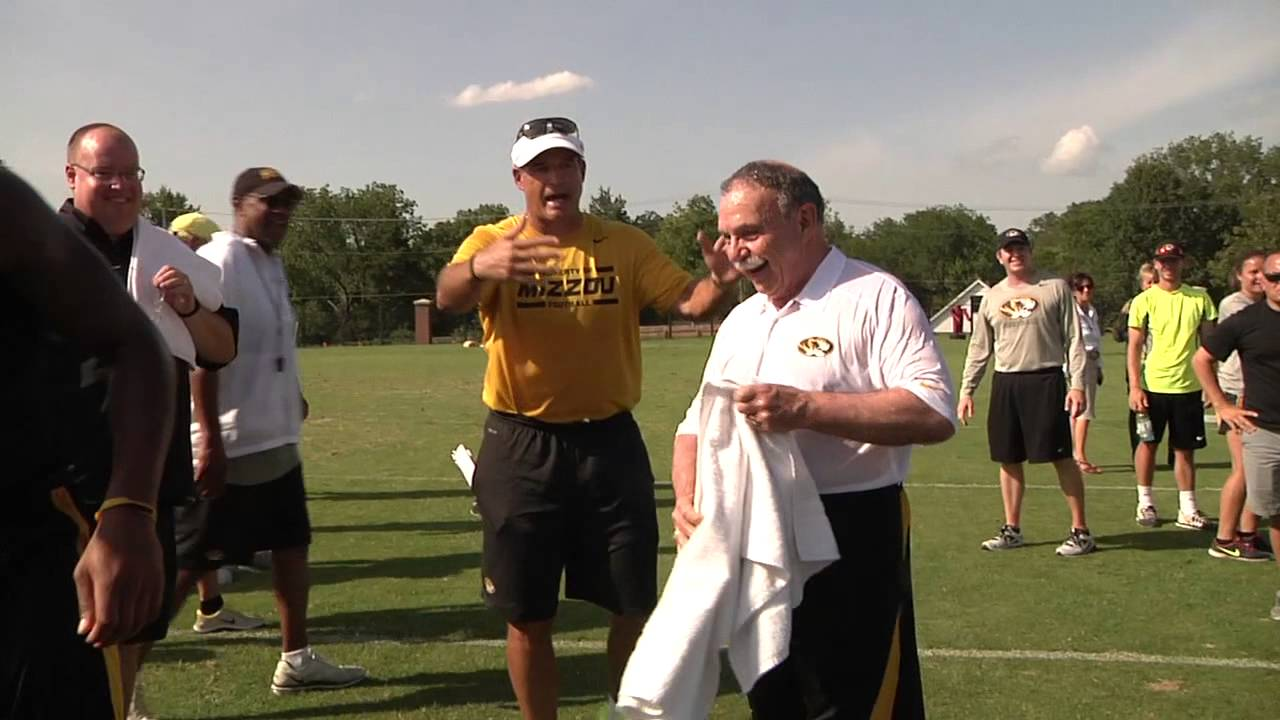 Chancellor R Bowen Loftin accepted coach Gary Pinkel's ALS Ice Bucket Challenge at yesterday's football practice!