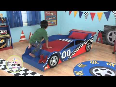 Cama de ni o coche de carreras kidkraft 76038 youtube - Cama en forma de auto ...