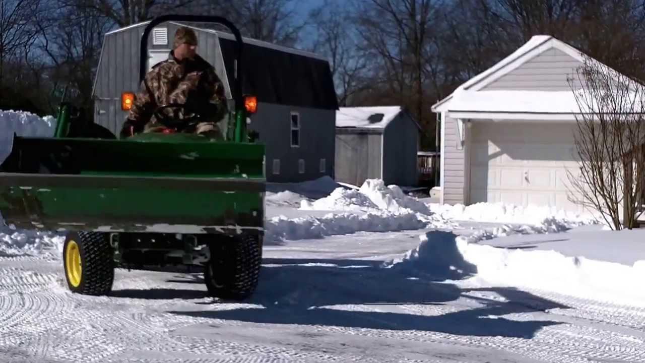 John Deere 1026r Loader Snow Plow : John deere plowing some snow youtube