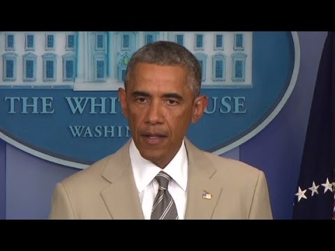 President Obama addresses the ongoing U.S. missile strikes on ISIS forces in Iraq.