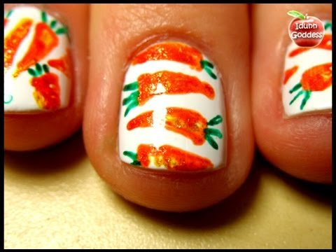 Carrot Nail Art With Gel Pens - Easy Homemade Nail Art Tutorial - Easy