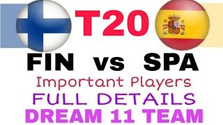 FIN Vs SPA 1st T20   Important Players Dream 11 Team  Playing 11  Team News
