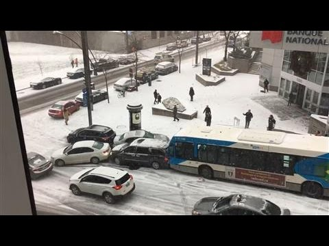 Snow Causes Multi-Vehicle Pileup in Canada