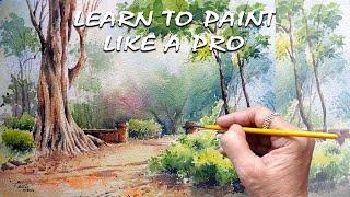 Watercolour Landscape-13   Painting   techniques    Video Demo   Fine Arts