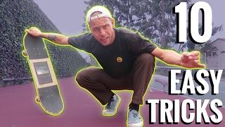 10 EASY FLAT GROUND SKATEBOARD TRICKS!