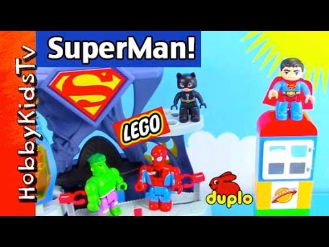 Duplo Superman Hero! Joker Attacks, Batman Flies, Hulk Smash, Spiderman, Catwoman Lego Hobbykidstv video