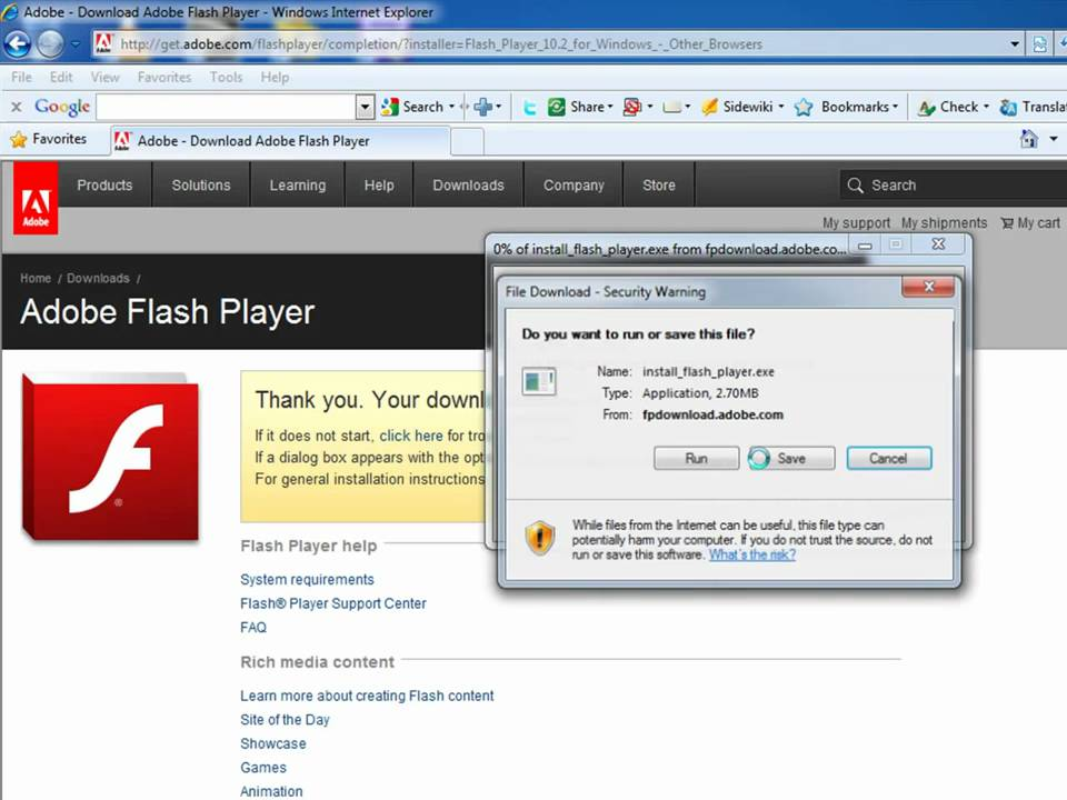 download flash player fire fox