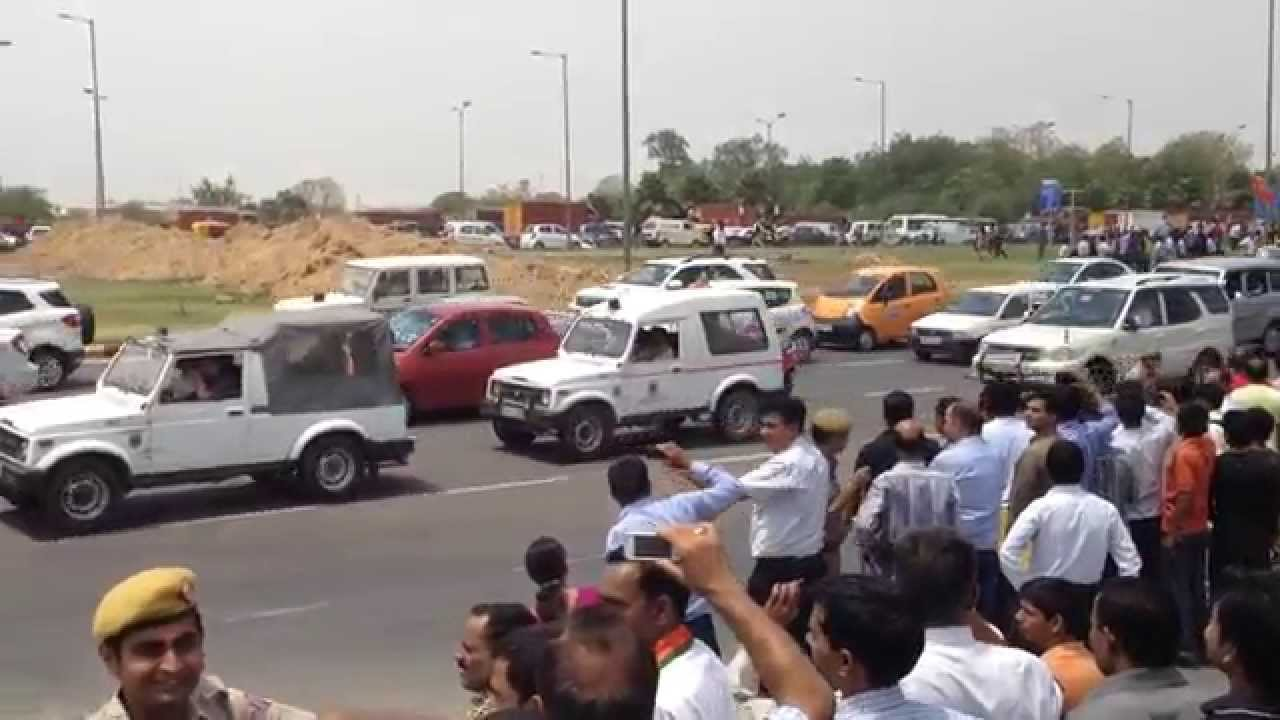 Narendra Modi Security Convoy Narendra Modi's Convoy at Igi