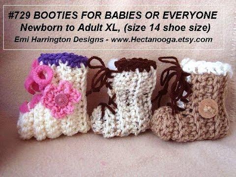CROCHET BOOTIES, baby, children, men and women sizes, Pattern #729