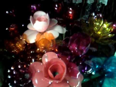 Curso de  Flores en botellas plasticas quinceañeras.  Flowers in plastic bottles teenagers