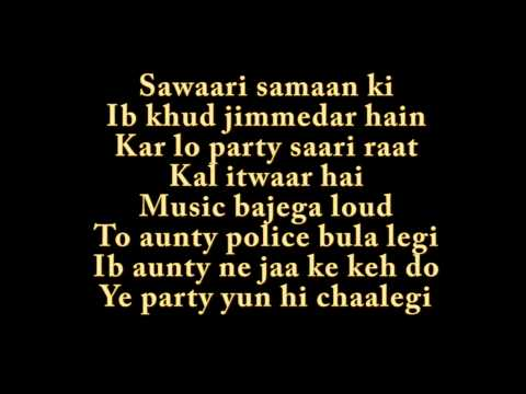 PARTY ALL NIGHT LYRICS - Boss song by HONEY SINGH