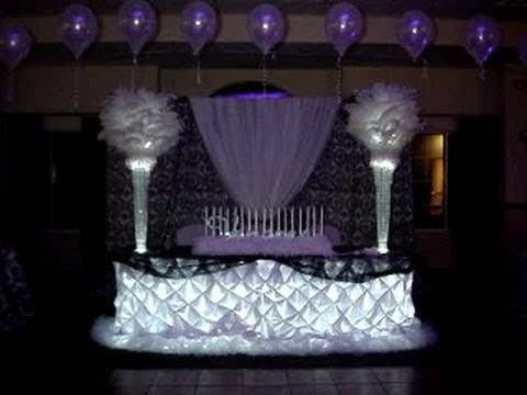 B w damask themed centerpieces linens back drop by for Chandelier table decorations