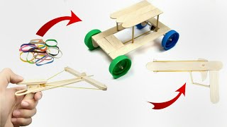 3 Amazing Crafts out of Popsicle sticks /DIY Toys