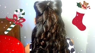 Hair Bow Updo With Curly Hair -  Peinado de Mono/Lazo Con Curls Para Navidad