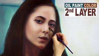 STEP #5 TO REALISTIC PORTRAIT PAINTING: 2nd Layer - Giving More Definition to Woman Facial Features
