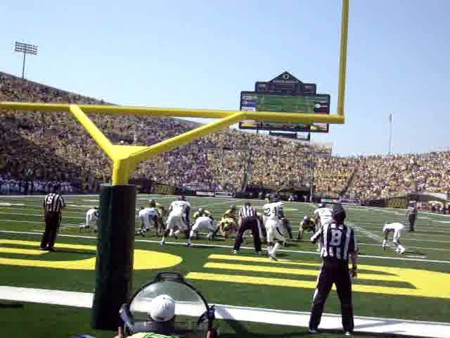 Oregon cheerleaders and a Duck TD during the Nevada-Oregon game at Autzen Stadium 9-10-2011