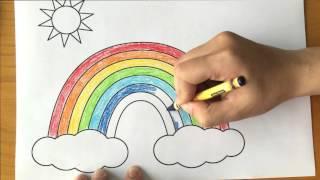 Tô màu cho bé - tô màu cầu vồng - crayion for kid - tô màu bảy sắc cầu vồng mặt trời