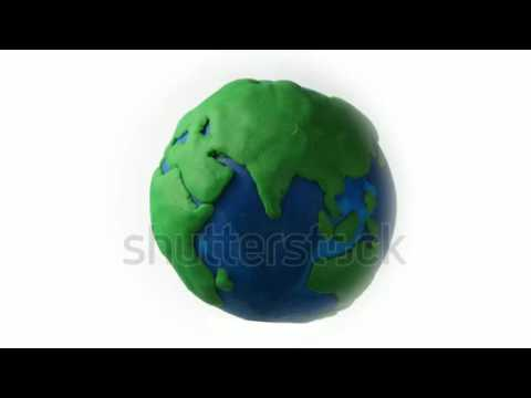 Earth globe spinning clay animation