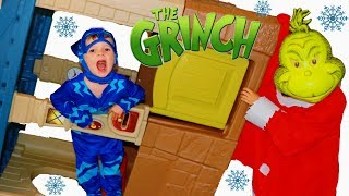The GRINCH TRANSFORMS From PJ Masks Gekko! Catboy STOP THE GRINCH Movie