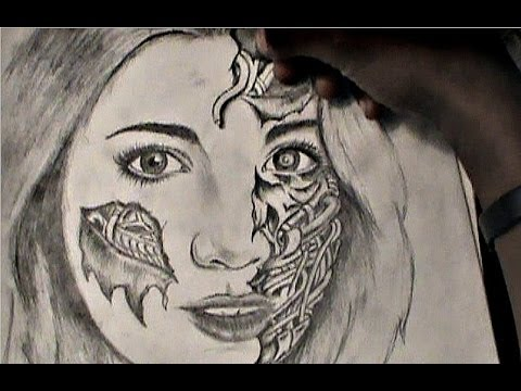 HOW TO DRAW: Realistic girl with half robot face - YouTube