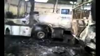 Ônibus queimados em Flexeiras, em Goiana-PE. Imagens: Cortesia