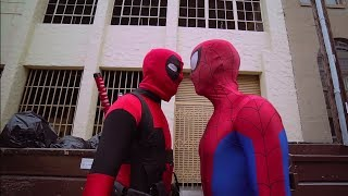 Deadpool vs Spiderman  - Deadpool Cosplay Superhero Parkour