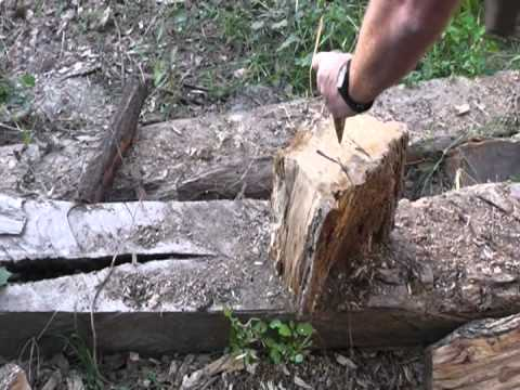 Hand Splitting Firewood Hickory and Live Oak