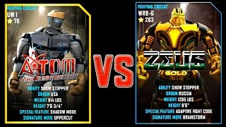 REAL STEEL WRB ATOM (90) VS Zeus Gold (Champion)(263) New Robots UPDATE (Живая сталь)