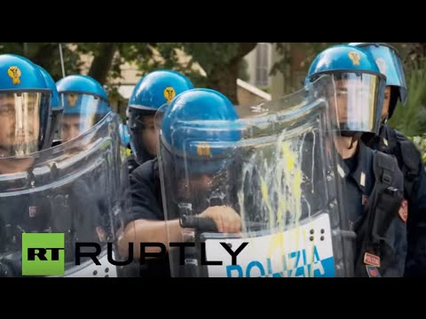 Italy: Eggs fly as thousands participate in anti-austerity march