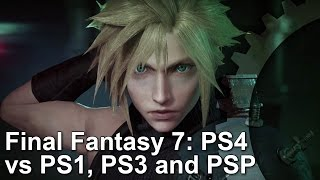Final Fantasy 7 PS4 Remake/PS1/PS3/PSP Graphics Comparison