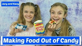Making Food Out of Candy Challenge ~ Jacy and Kacy