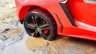 Red Lambo stuck in the mud Funny Baby Paw Patrol Ride on POWER WHEEL Tractor for help