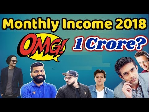 Top 10 Indian YouTubers Monthly Income 2018 | Updated List | BB  |Amit Bhadana |Technical Guruji