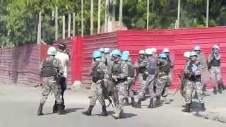 United Nations MINUSTAH Firing At Anti Martelly Protest