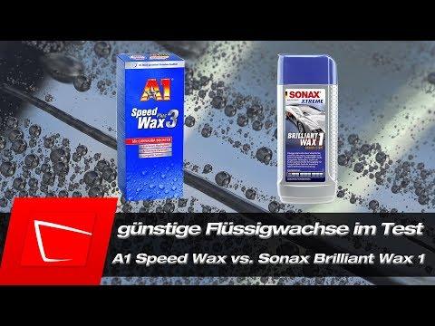 A1 Speed Wax Plus 3 vs. Sonax Brilliant Wax 1 im Test - günstige Flüssigwachse im Vergleich