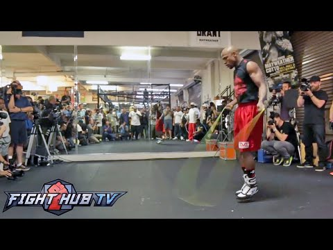 Mayweather vs Maidana Mayweather full jump rope  ab workout video