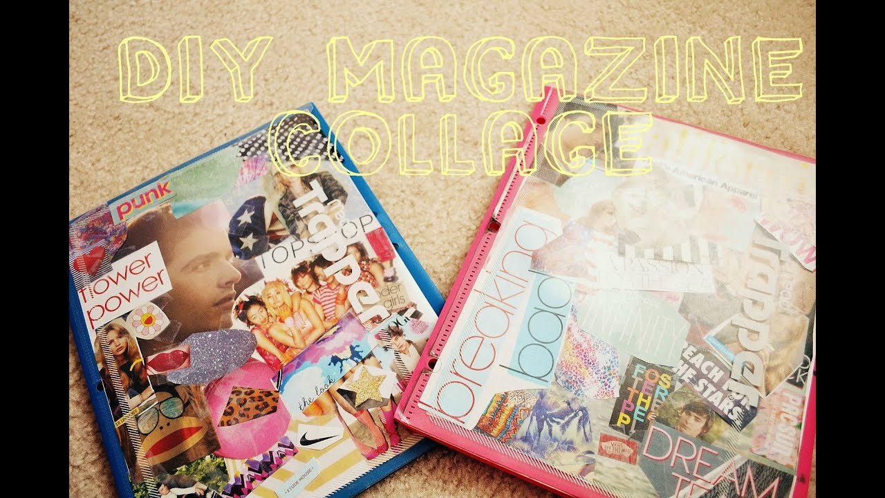 How To Make Book Cover Collage : Diy magazine collage for folder binder covers youtube