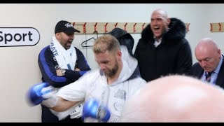 TYSON FURY MOTIVATING BILLY JOE SAUNDERS IN DRESSING ROOM BEFORE WORLD TITLE WIN