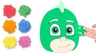 Coloring PJ Masks Gekko with Kinetic Sand for Kids, Children