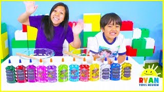 3 color of glue slime challenge with mystery wheel of slime!!!