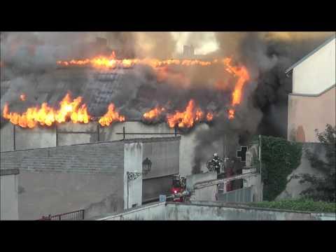 Centre Ville de Sarreguemines le Feu Ravage un entrepôt 1