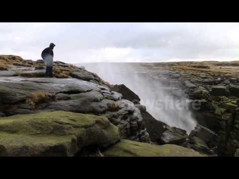 Waterfall Blown Backwards By High Winds video