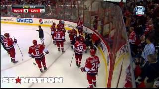 Joni Pitkanen leaves ice on stretcher