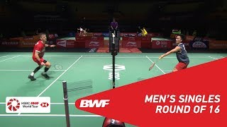 R16   MS   Kento MOMOTA (JPN) [1] vs Hans-Kristian Solberg VITTINGHUS (DEN)   BWF 2018