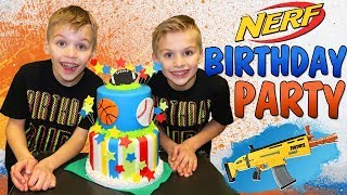 NERF Battle: Our 9th Birthday Party with Our Friends!!