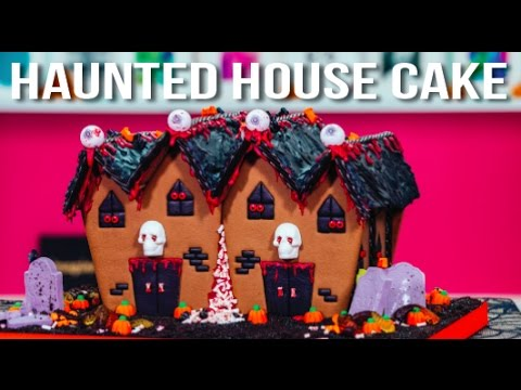 How To Make A HALLOWEEN HAUNTED HOUSE CAKE! Marble Cake With A Ghoulish Graveyard Of Goodies!