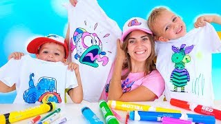 Vlad, Nikita and Mom paint T-shirts and caps! 3 Marker Challenge