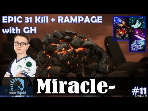 Miracle - Tiny MID | EPIC 31 Kill + RAMPAGE with GH (IO) | Dota 2 Pro MMR  Gameplay #11